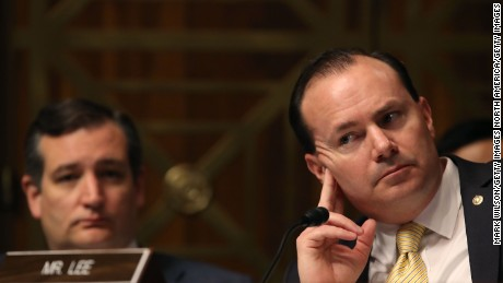 Sen. Mike Lee (R-UT) (R), and Sen. Ted Cruz (R-TX) listen to testimony during a Senate Judiciary Committee confirmation hearing for Justice Department nominees, on Capitol Hill, on May 10, 2017 in Washington, DC.  (Photo by Mark Wilson/Getty Images)