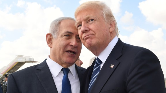 JERUSALEM, ISRAEL - MAY 23:  (ISRAEL OUT) In this handout photo provided by the Israel Government Press Office (GPO), Israeli Prime Minister Benjamin Netanyahu speaks with US President Donald Trump prior to the President's departure from Ben Gurion International Airport in Tel Aviv on May 23, 2017 in Jerusalem, Israel. Trump arrived for a 28-hour visit to Israel and the Palestinian Authority areas on his first foreign trip since taking office in January.  (Photo by Kobi Gideon/GPO via Getty Images)