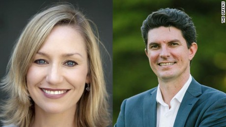 Larissa Waters and Scott Ludlam in handout photos from The Greens political party website.
