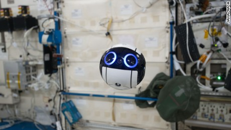"JAXA's JEM Internal Ball Camera, or ""Int-Ball"" for short, floats while taking a video, July 2017."