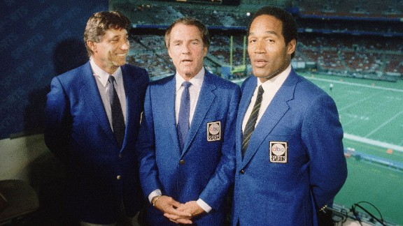 """Simpson becomes a commentator on ABC's """"Monday Night Football"""" in the mid-'80s. He appears with Joe Namath, left, and Frank Gifford."""