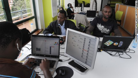 Ushahidi staff working in their Nairobi offices.