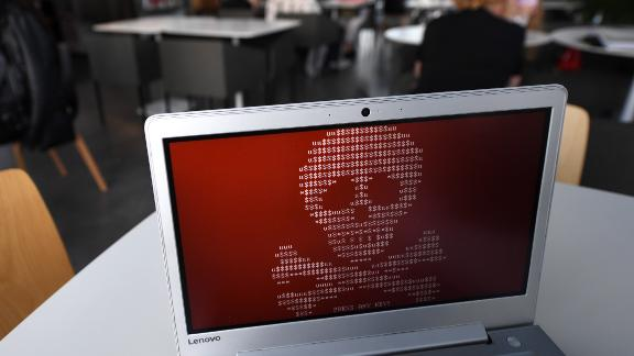 A computer infected by Petya ransomware, which hit Russian and Ukrainian companies in June.