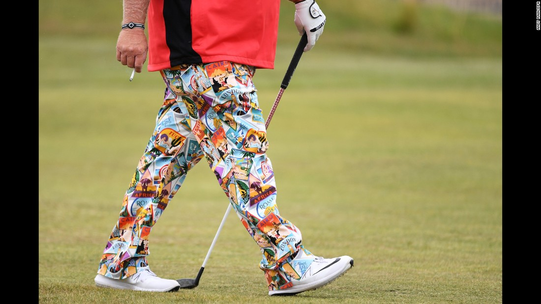 US golfer John Daly has been wearing eye-poppingly bright pants this week. The 51-year-old won the Open in 1995.