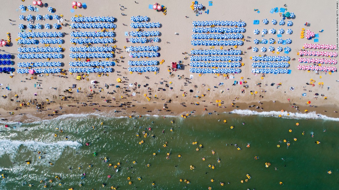 <strong>Busan, South Korea:</strong> An aerial shot of Haeundae Beach on a busy July day in 2017. Forty minutes from downtown Busan, it's one of South Korea's most popular beaches.