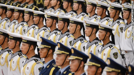 Members of a Chinese PLA Navy honor guard at the Great Hall of the People in Beijing.