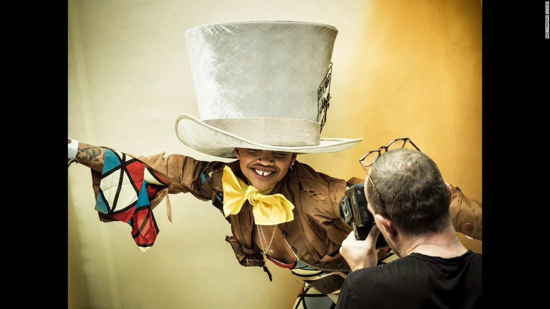 "The 2018 Pirelli calendar featured an all black cast recreating ""Alice in Wonderland"" illustrations. Model Slick Woods poses as the Mad Hatter for photographer Tim Walker."
