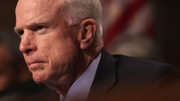 """WASHINGTON, DC - FEBRUARY 09:  Committee chairman Sen. John McCain (R-AZ) listens during a hearing before Senate Armed Services Committee February 9, 2017 on Capitol Hill in Washington, DC. The committee held a hearing on """"Situation in Afghanistan.""""  (Photo by Alex Wong/Getty Images)"""