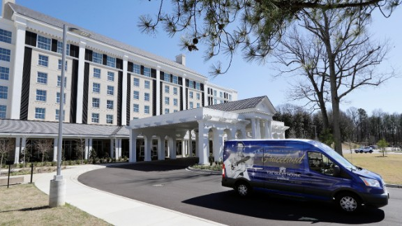 A tour bus leaves the Guest House at Graceland hotel on Thursday, March 2, 2017, in Memphis, Tenn. The $90 million, 450-room hotel that opened last year is part of a $140 million expansion at Graceland, Elvis Presley