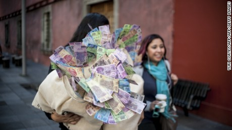 Activists of Amnesty International arrive holding fake money sacks to the Foreign Ministry building during a symbolic  action to demand to Mexican government the increase of economic support to the Inter-American Commission on Human Rights (CIDH) in Mexico City on June 8, 2016. According to a statement released by Amnesty International the Inter-American Commission on Human Rights (CIDH) faces an economic crisis that will force her to lay off 40% of its staff. / AFP / YURI CORTEZ        (Photo credit should read YURI CORTEZ/AFP/Getty Images)