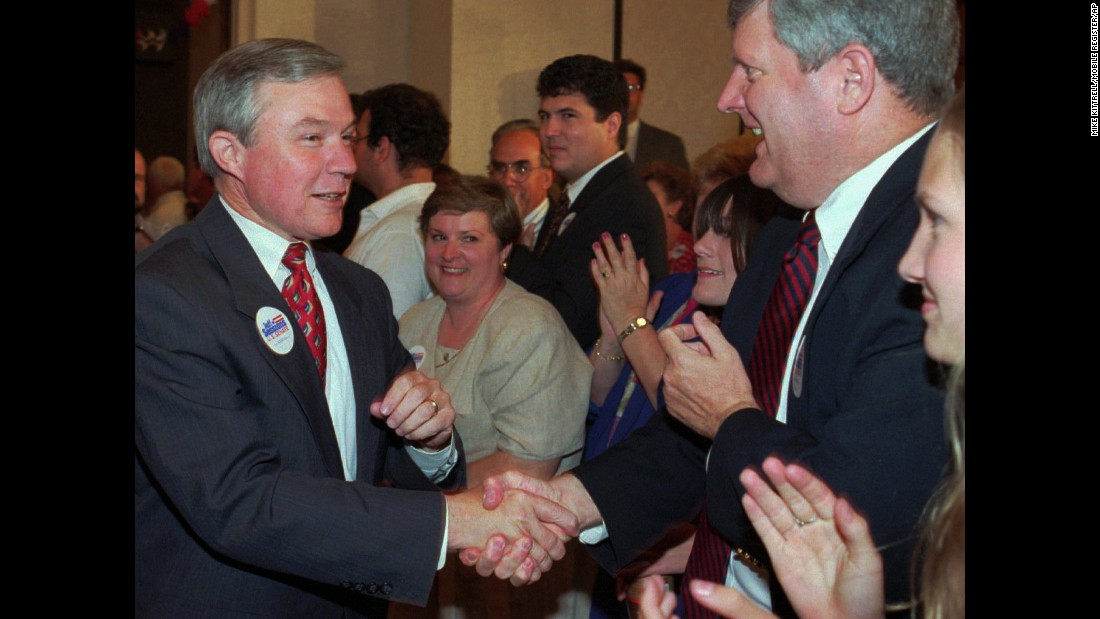 Sessions became Alabama attorney general in 1995. Here, he greets supporters in Mobile, Alabama, in 1996 while seeking the Republican nomination for the US Senate.
