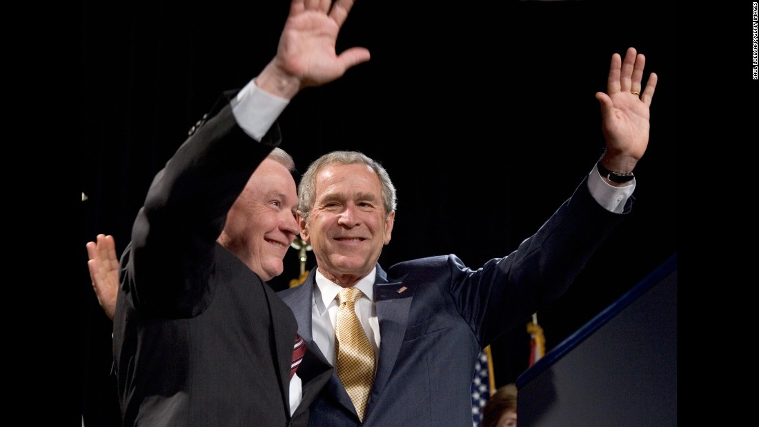 President George W. Bush joins Sessions at a 2007 Republican fundraiser for Session in Mobile, Alabama. Sessions was re-elected to the Senate in 2008.