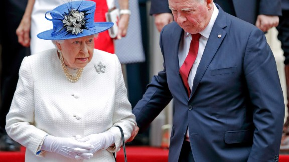 LONDON, UNITED KINGDOM - JULY 19: (EMBARGOED FOR PUBLICATION IN UK NEWSPAPERS UNTIL 48 HOURS AFTER CREATE DATE AND TIME) David Johnston, Governor General of Canada, holds Queen Elizabeth II