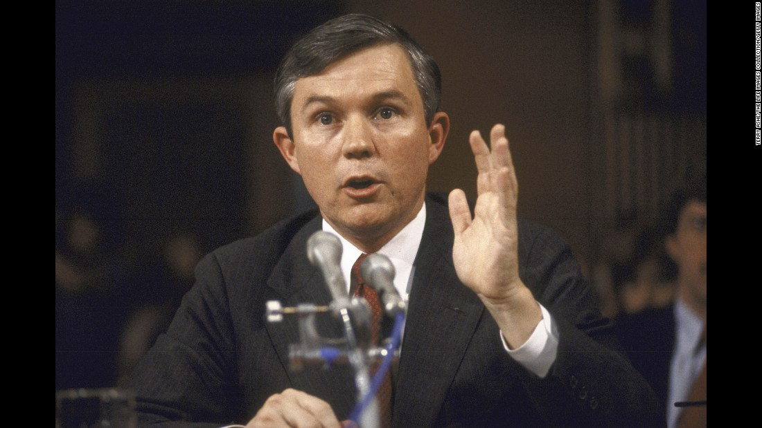 Sessions, then a US attorney, is questioned in 1986 by the Senate Judiciary Committee after he was nominated by President Ronald Reagan to be a judge in the US District Court for the Southern District of Alabama. Sessions' nomination was rejected.
