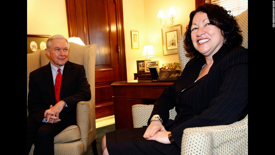 Sessions meets with Supreme Court  nominee Sonia Sotomayor. He voted against her nomination, which was made be President Barack Obama.