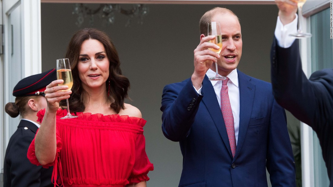William and Kate toast during The Queen's Birthday Party at the British Ambassadorial Residence on July 19, in Berlin.