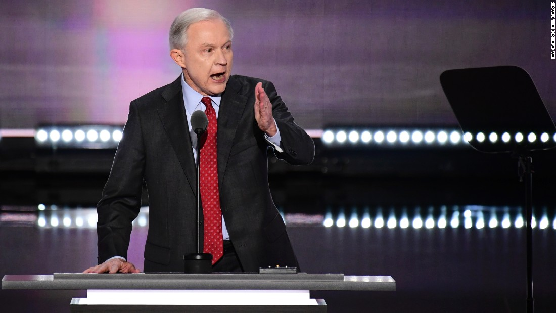 Sessions nominates Trump to be the Republican nominee for president at the 2016 Republican National Convention in Cleveland on July 19, 2016.