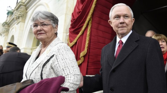 Sessions, then attorney general-designate, and his wife, Mary Blackshear Sessions, arrive for Trump's January 20, 2017, presidential inauguration.