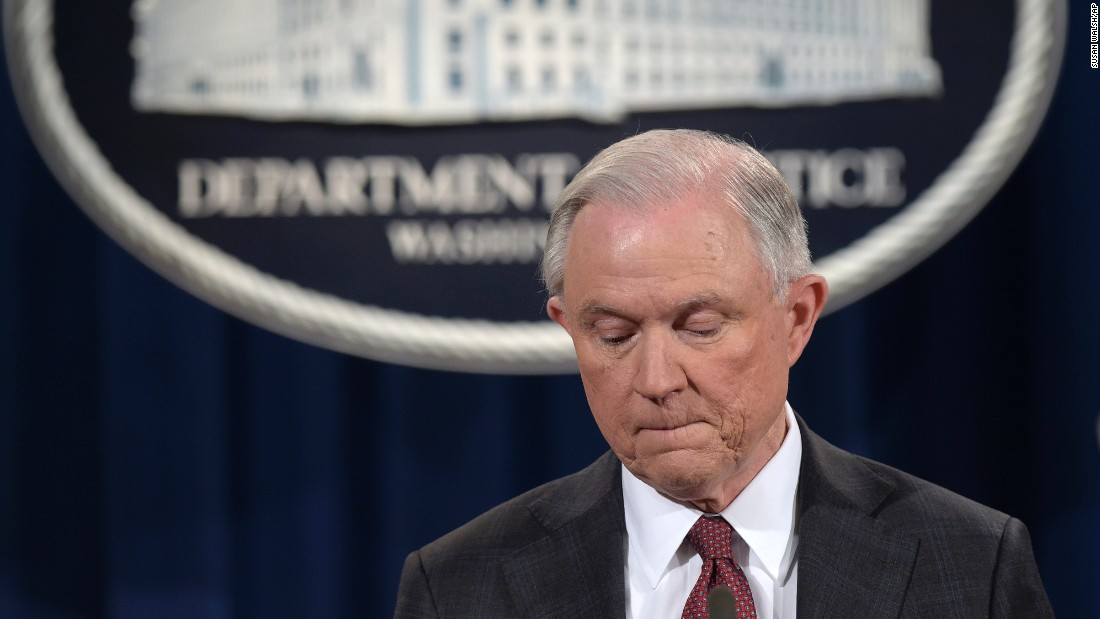 On March 2, 2017, Sessions pauses during a news conference at the Justice Department where he said he would recuse himself from a federal investigation into Russian interference in the 2016 presidential election. On July 19, Trump told The New York Times he wished Sessions hadn't made the recusal.