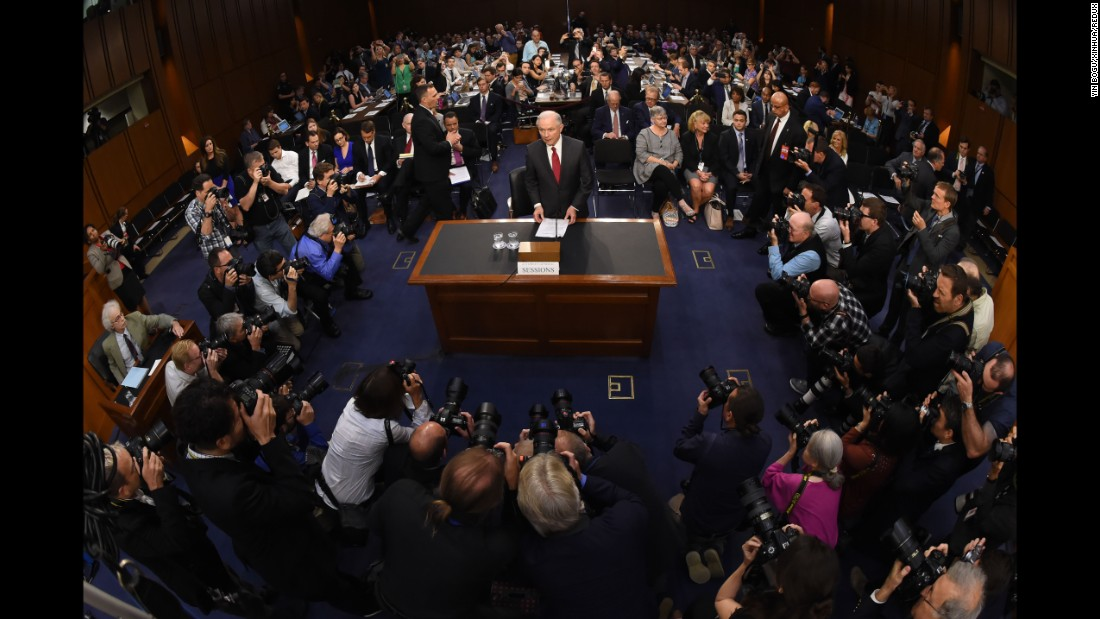 "Sessions arrives on June 13, 2017, to testify at a Senate intelligence committee hearing about meetings he had with Russians during the Trump presidential campaign. Sessions called the Russia collusion claim a ""detestable lie."""