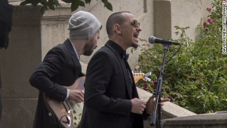 Chester Bennington perfoms at Cornell's funeral on May 26.