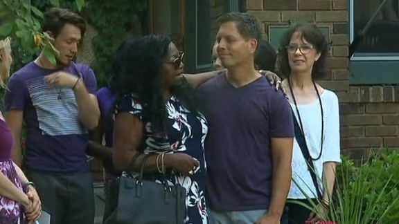 """Valerie Castile and Don Damond met before the """"Justice for Justine"""" rally on Thursday."""