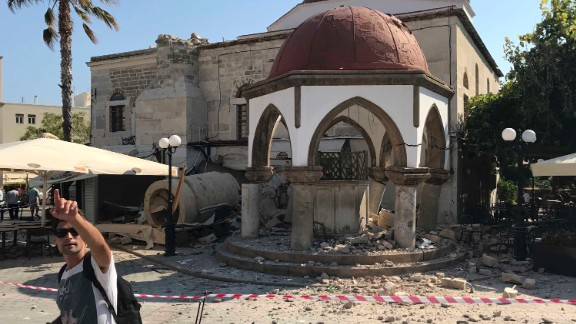 On Friday morning, emergency crews were already working ot assess the damage to historical and religious structures, like this mosque, on Kos.