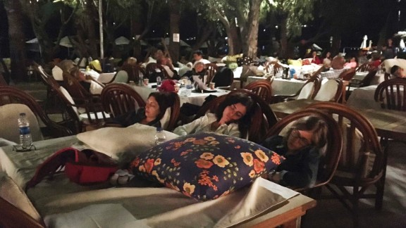 Vactioners across the region abandoned their hotel rooms -- as seen here in Bitez, a resort town west of Bodrum in Turkey -- amid the aftershocks on Friday morning.