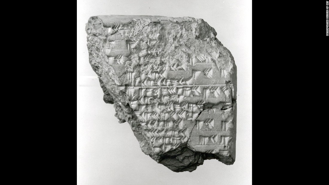 Clay cuneiform tablets are the first records of eclipses that we have. This one, dated from 177 to 199 B.C., was found in Mesopotamia, probably from Babylon.