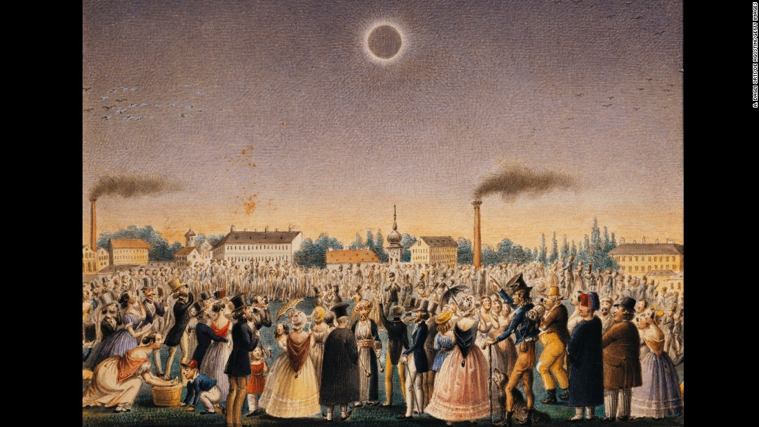 Artist Johann Christian Schoeller depicted a crowd watching a total solar eclipse July 8, 1842. It occurred across China, Russia and parts of Eastern Europe.