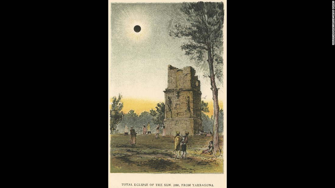 This chromolithograph depicts people watching the total solar eclipse in Tarragona, Spain, in 1860.