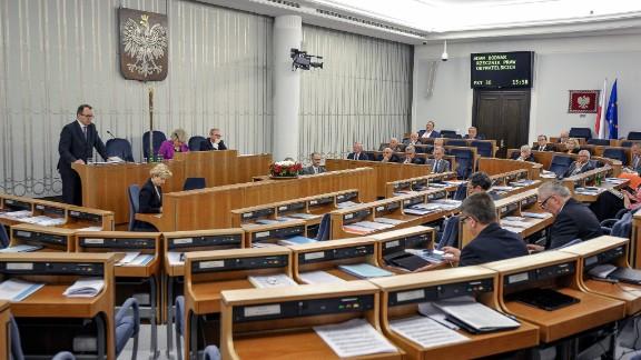 Polish Ombudsman Adam Bodnar addresses a session of the Polish Senate on Friday.