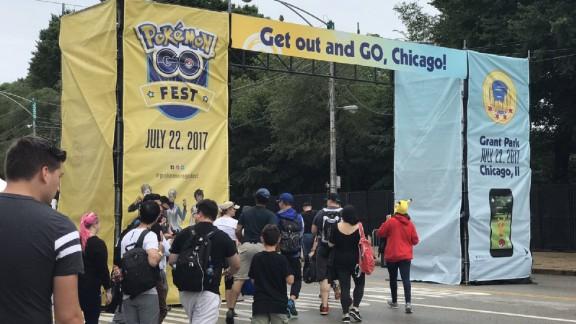Players enter Pokemon Go Fest in Chicago.