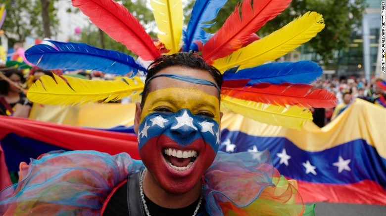 A participant from Venezuela takes part in Berlin's annual Christopher Street Day gay pride parade on July 22, 2017.