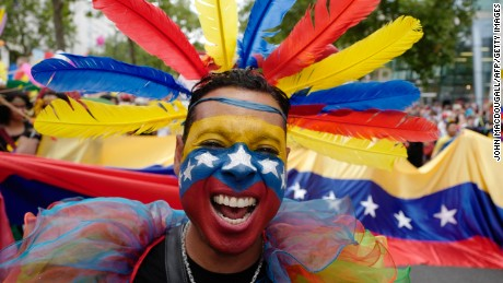 A participant from Venezuela takes part in Berlin's annual Christopher Street Day (CSD) gay pride parade on Saturday.