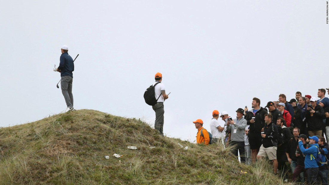 Spieth's tournament was unraveling early on and a wild drive into the dunes on the 13th evoked memories of his Masters meltdown in 2016.