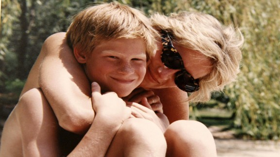 Diana, Princess of Wales, on holiday with Prince Harry.