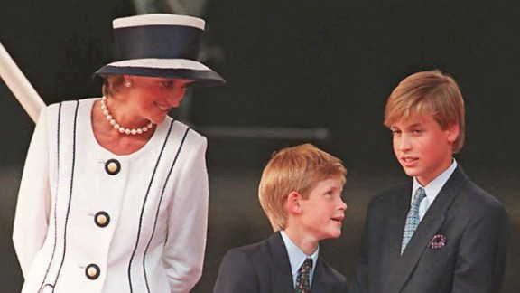 (FILES) Princess Diana (L), Prince Harry, (C) and Prince William (R) gather for the commemorations of VJ Day, 19 August 1995, in London. Prince William turned 25 Thursday 21 June 2007, and in doing so became entitled to part of the multi-million pound (euro, dollar) inheritance left to him by his late mother, princess Diana. The second in line to the throne is now allowed access to the income accrued on the 6.5 million pounds he was left in his mother