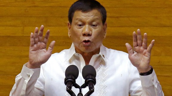 Philippines President Rodrigo Duterte gestures during his second State of the Nation Address on July 24.