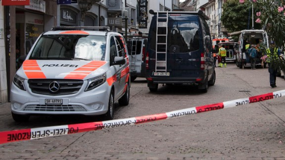 Police cordoned off parts of Schaffhausen after the attack.
