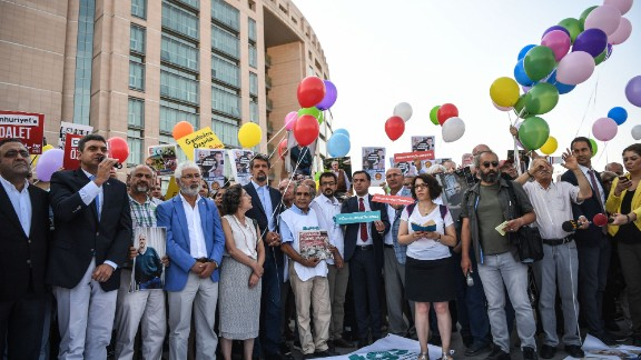 Supporters also released balloons during the demonstration