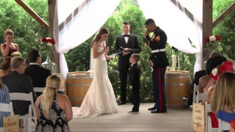 Boy cries at future stepmom's vows on her wedding day _00012315