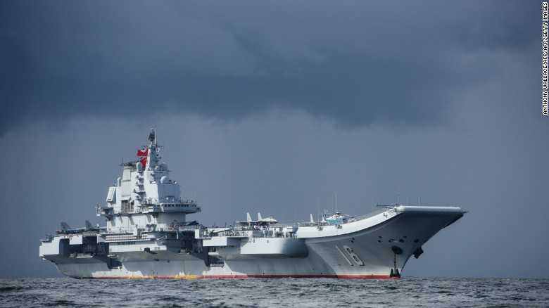 China's sole aircraft carrier, the Liaoning, arrives in Hong Kong waters on July 7, 2017.
