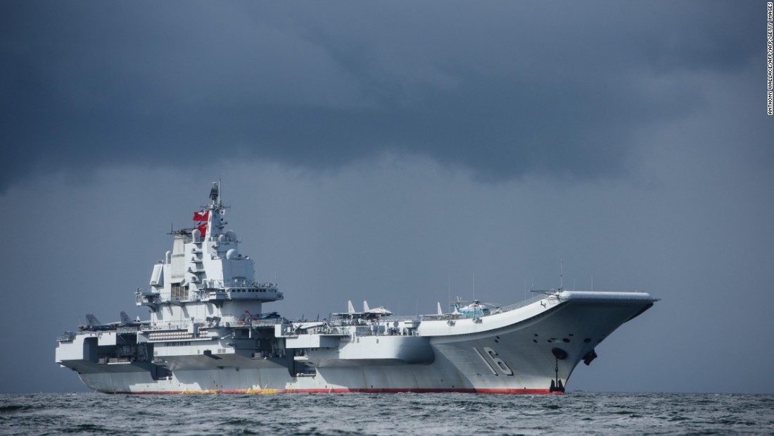 China's first aircraft carrier, Liaoning, arrives in Hong Kong waters on July 7, 2017.