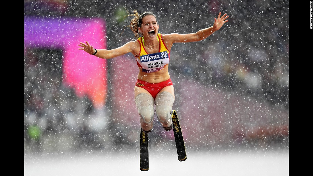 Spanish sprinter Sara Andres Barrio celebrates after a race at the World Para Athletics Championships on Sunday, July 23. She won bronze in the T44 200 meters.