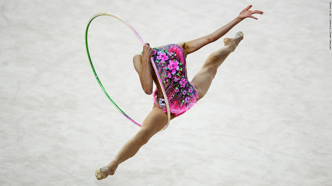 Chaewoon Kim, a rhythmic gymnast from South Korea, competes at the World Games in Wroclaw, Poland, on Friday, July 21.