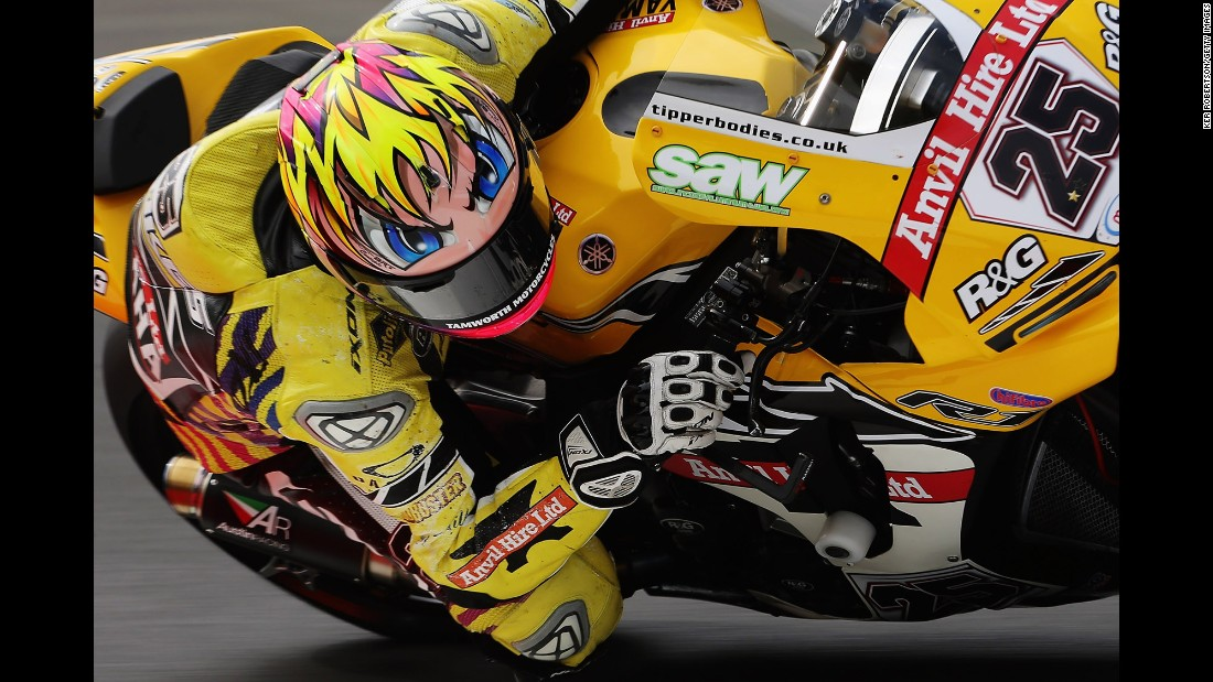 Motorcycle racer Josh Brookes makes a turn as he practices for the British Superbike Championship on Friday, July 21.