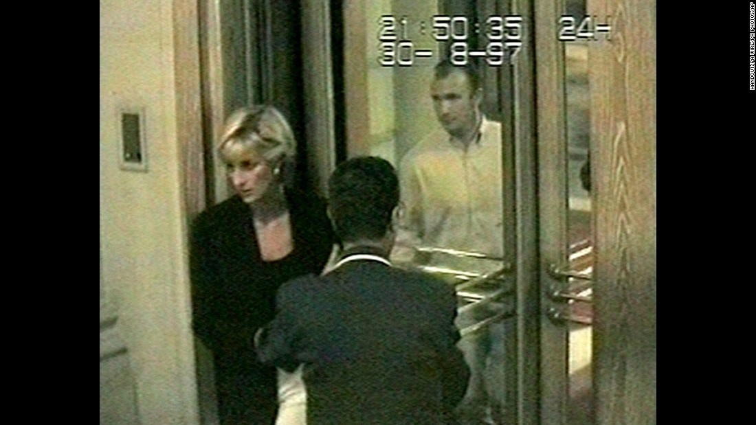 This photo, taken from surveillance video, shows Diana arriving at the Ritz Hotel in Paris on August 30, 1997. It is one of the last photos of her alive.