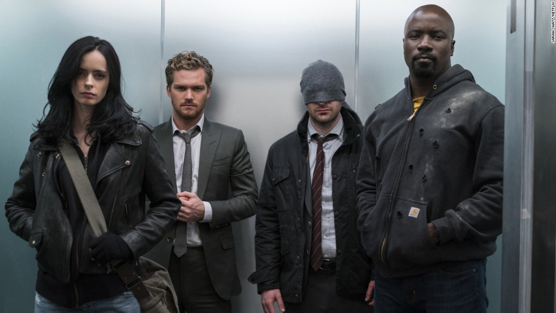 "<strong>""Marvel's The Defenders"": </strong> Superheroes Jessica Jones (Krysten Ritter), Iron Fist (Finn Jones), Daredevil (Charlie Cox) and Luke Cage (Mike Colter) come together to battle a criminal organization in this series. <strong>(Netflix) </strong>"