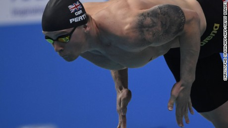 Peaty set a new world record in a heat of the men's 50m breaststroke Tuesday.